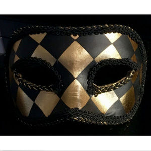 GOLD BLACK EYE MASK DIAMOND MASQUERADE  HARLEQUIN